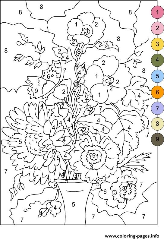 Color By Number For Adults Flowers Coloring Pages Printable