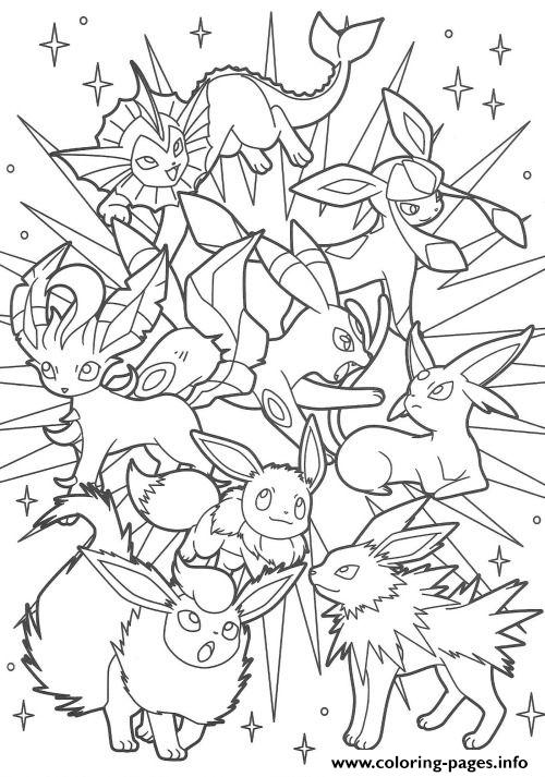 Pokemon Coloring Pages Eevee : pokemon, coloring, pages, eevee, Eeveelution, Eevee, Evolutions, Coloring, Pages, Printable