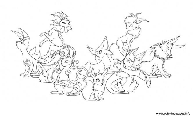 Eevee Coloring Pages To Print Pokemon Eevee Evolutions Coloring Pages  Coloring Page For Kids
