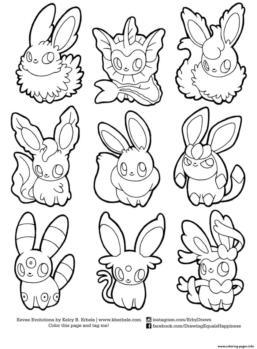 pokemon eevee evolutions list coloring pages printable