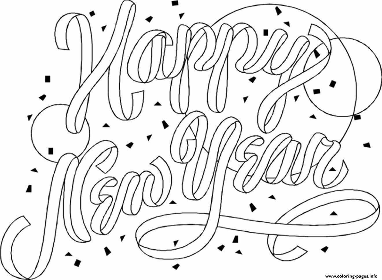 Happy New Year Printable Coloring Page Coloring Pages Printable