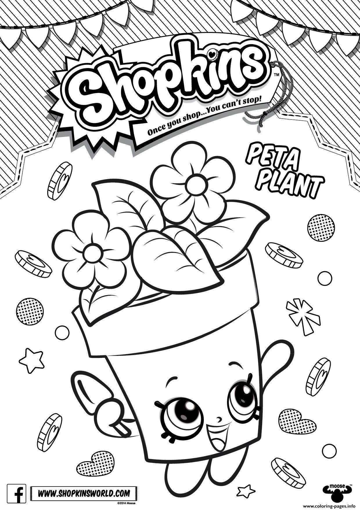 Shopkins Peta Plant Coloring Pages Printable