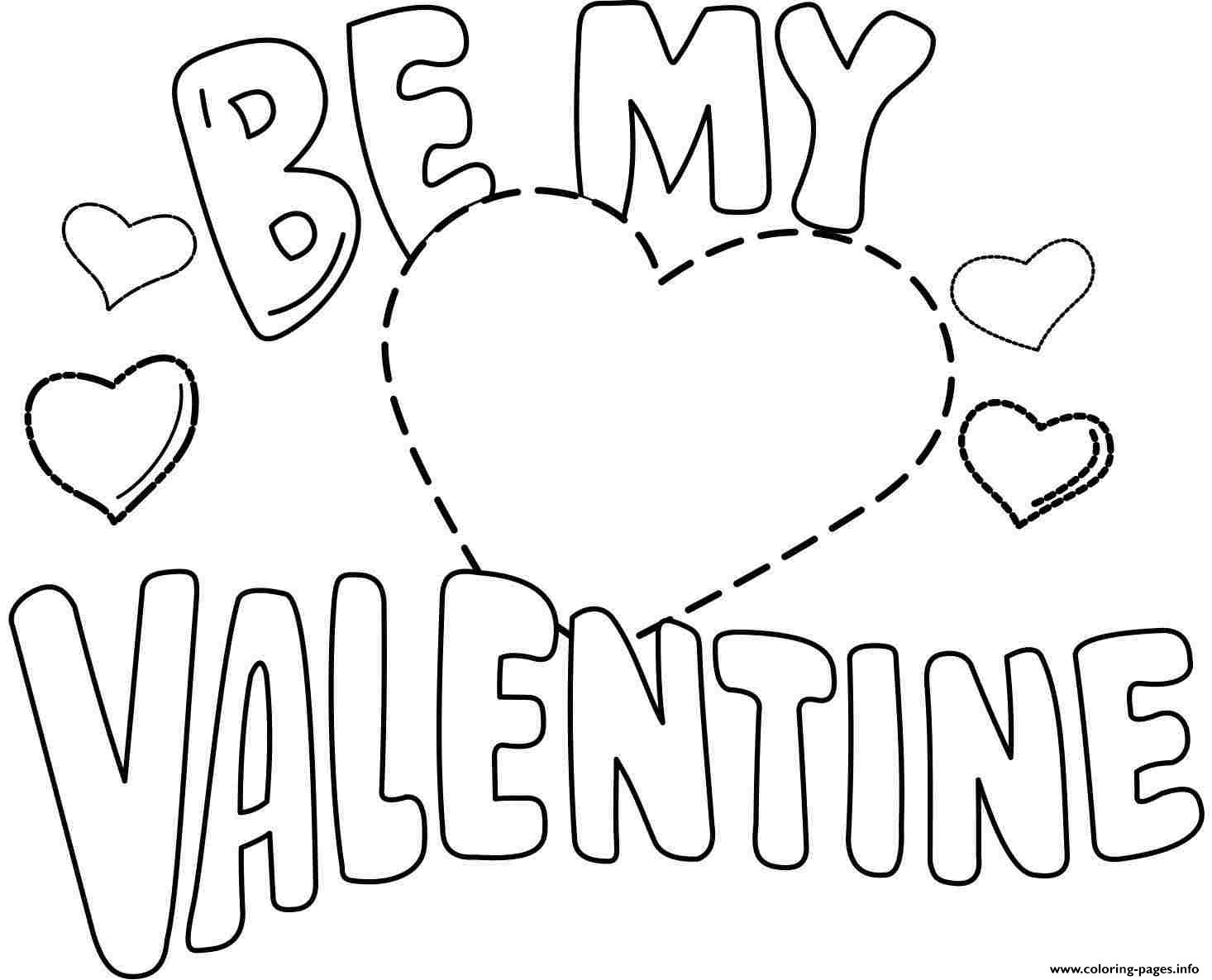 Be My Valentine Valentines Day Coloring Pages Printable