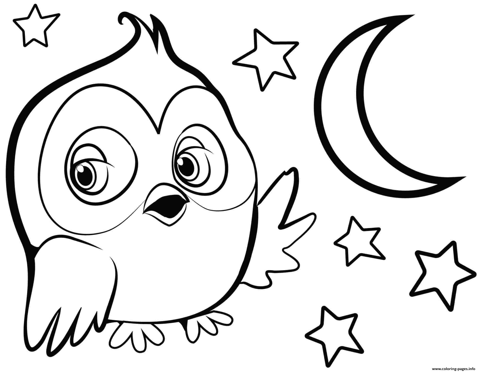 Cute Owl For Girls Coloring Pages Printable
