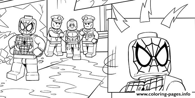 Lego Marvel Spiderman Police Coloring Pages Printable