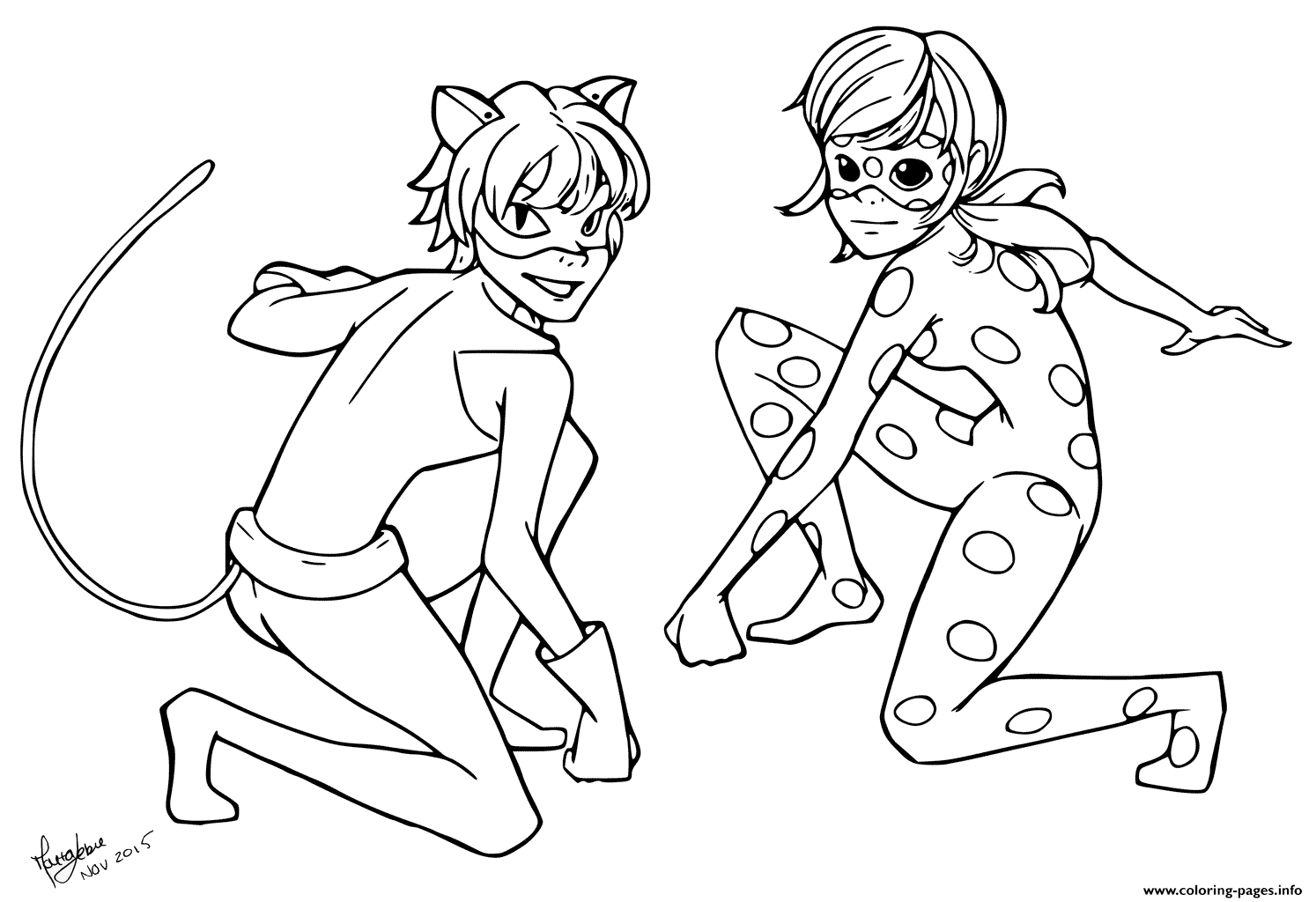 Cartoons Coloring Pages For Kids Ladybug And Cat Noir