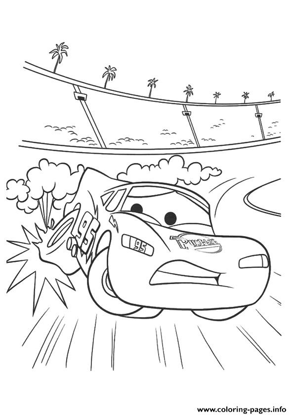 Cars The Zooming Off The Track A4 Disney Coloring Pages
