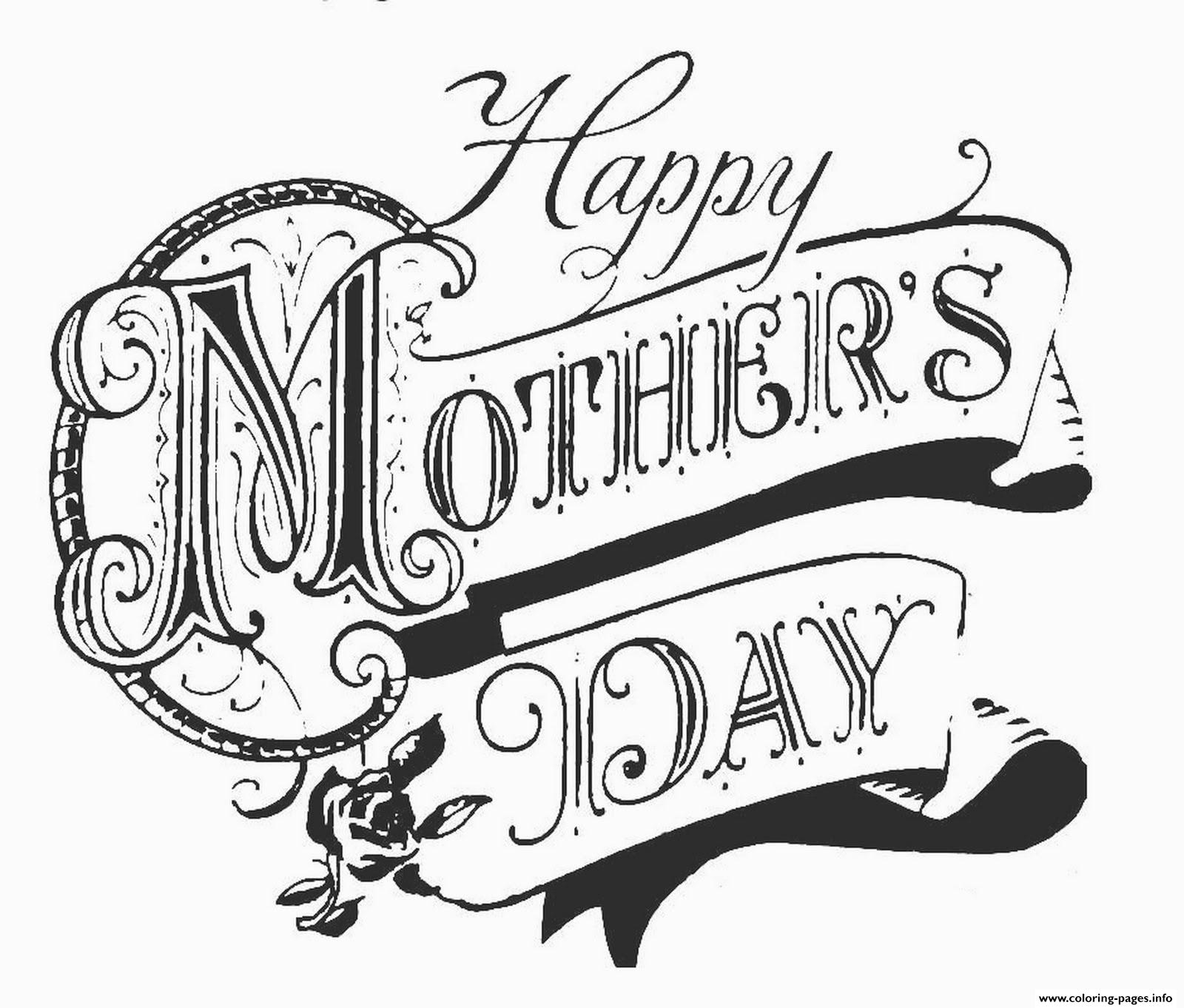 Happy Mother Day Adult Old School Coloring Pages Printable