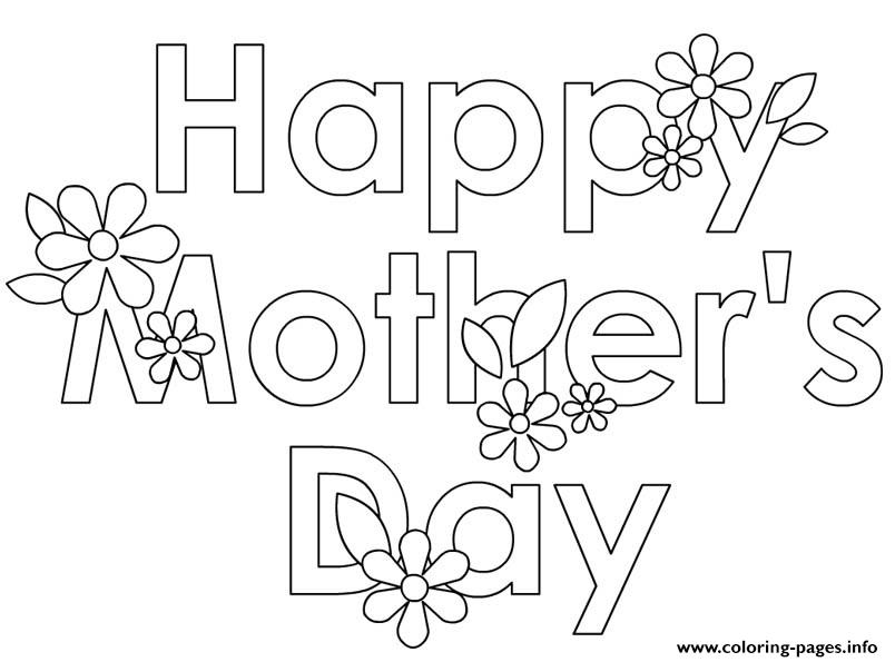 Happy Mothers Day Flowers Cute Coloring Pages Printable