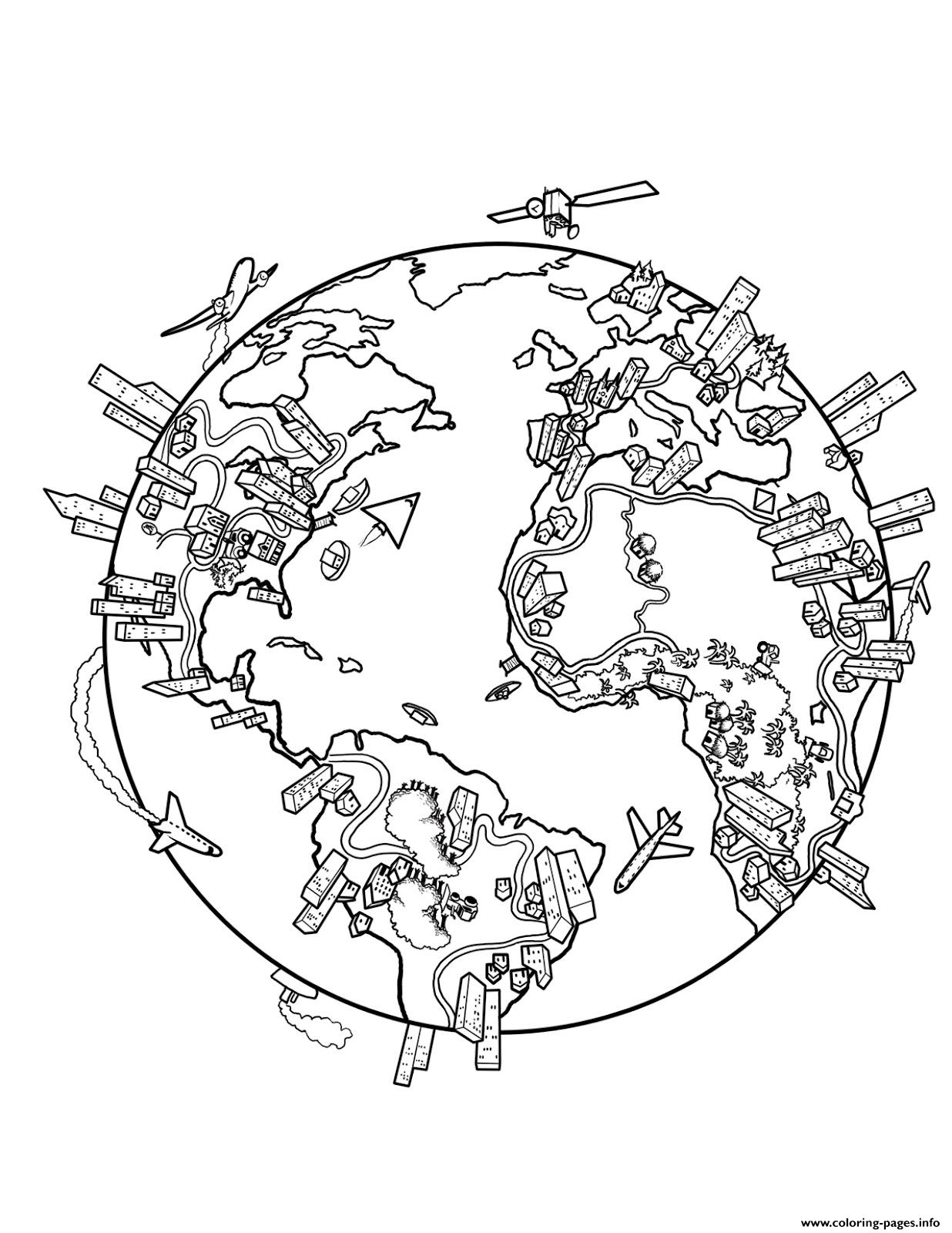 World Map Earth Coloring Pages Printable