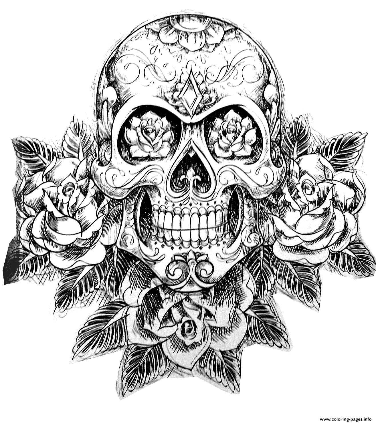 Sugar Skull Tatoo Hard Adult Difficult Coloring Pages Printable