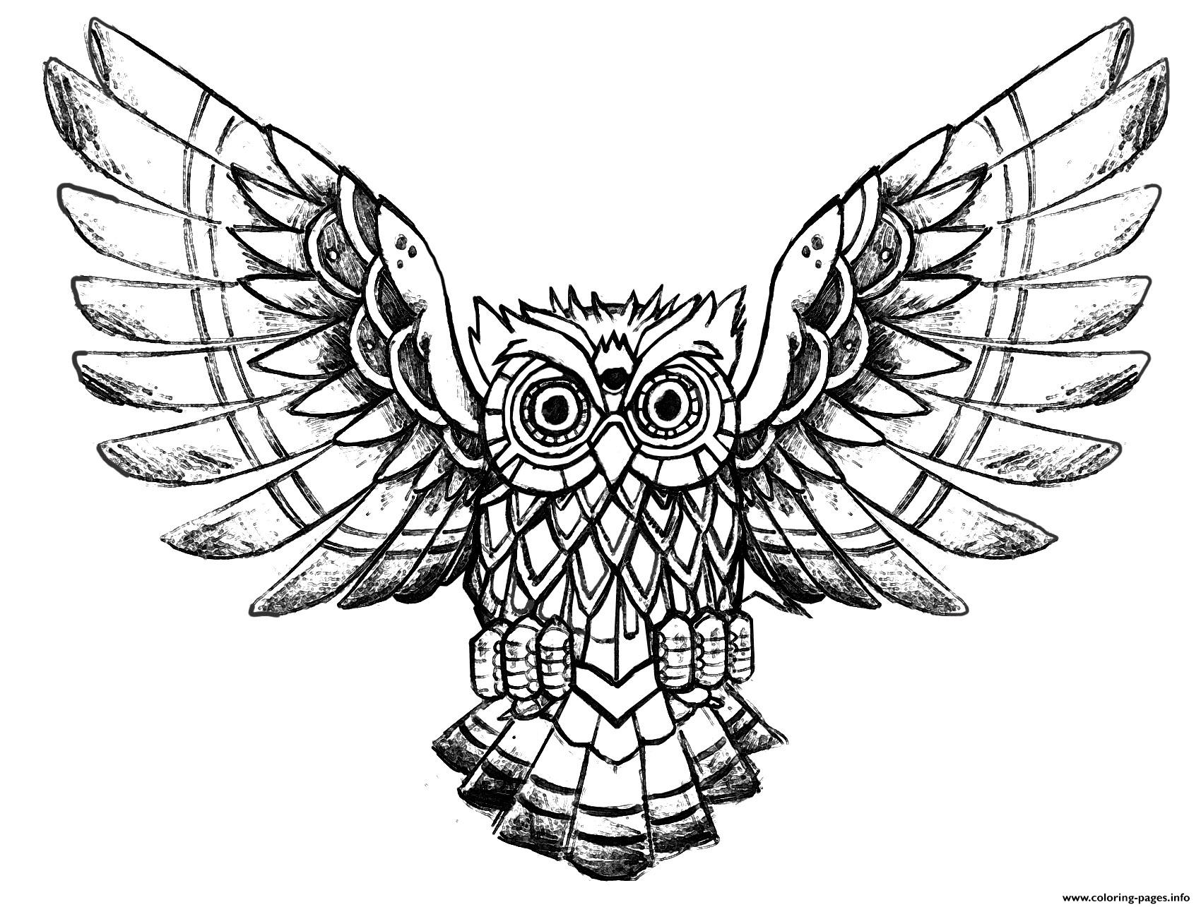 Advanced Owl Raw Drawing Coloring Pages Printable
