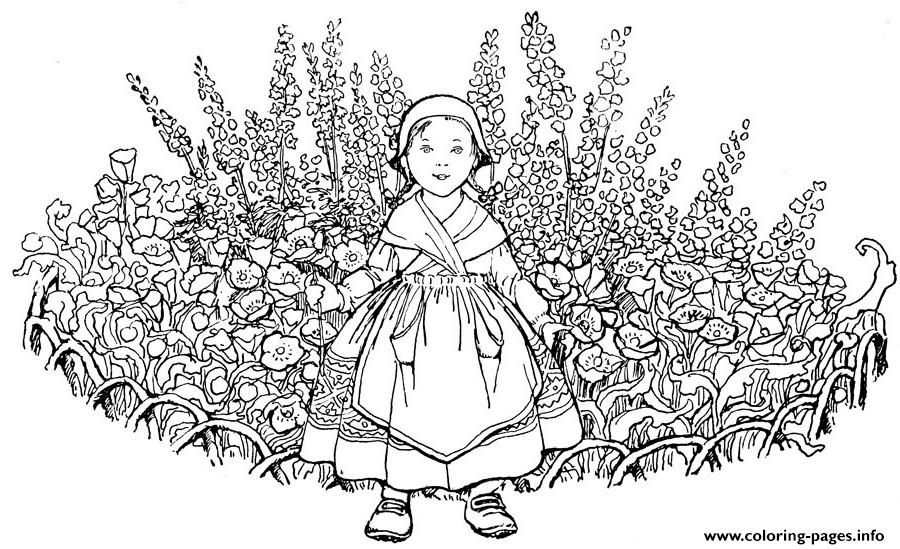 Advanced Kid With Flowers Hard Coloring Pages Printable
