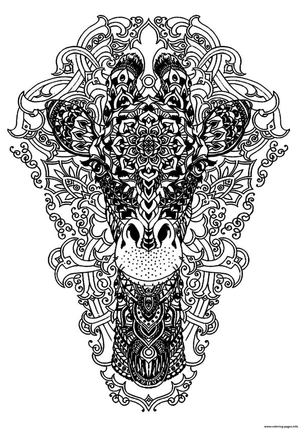 Adult Coloring Pages Animals Giraffe