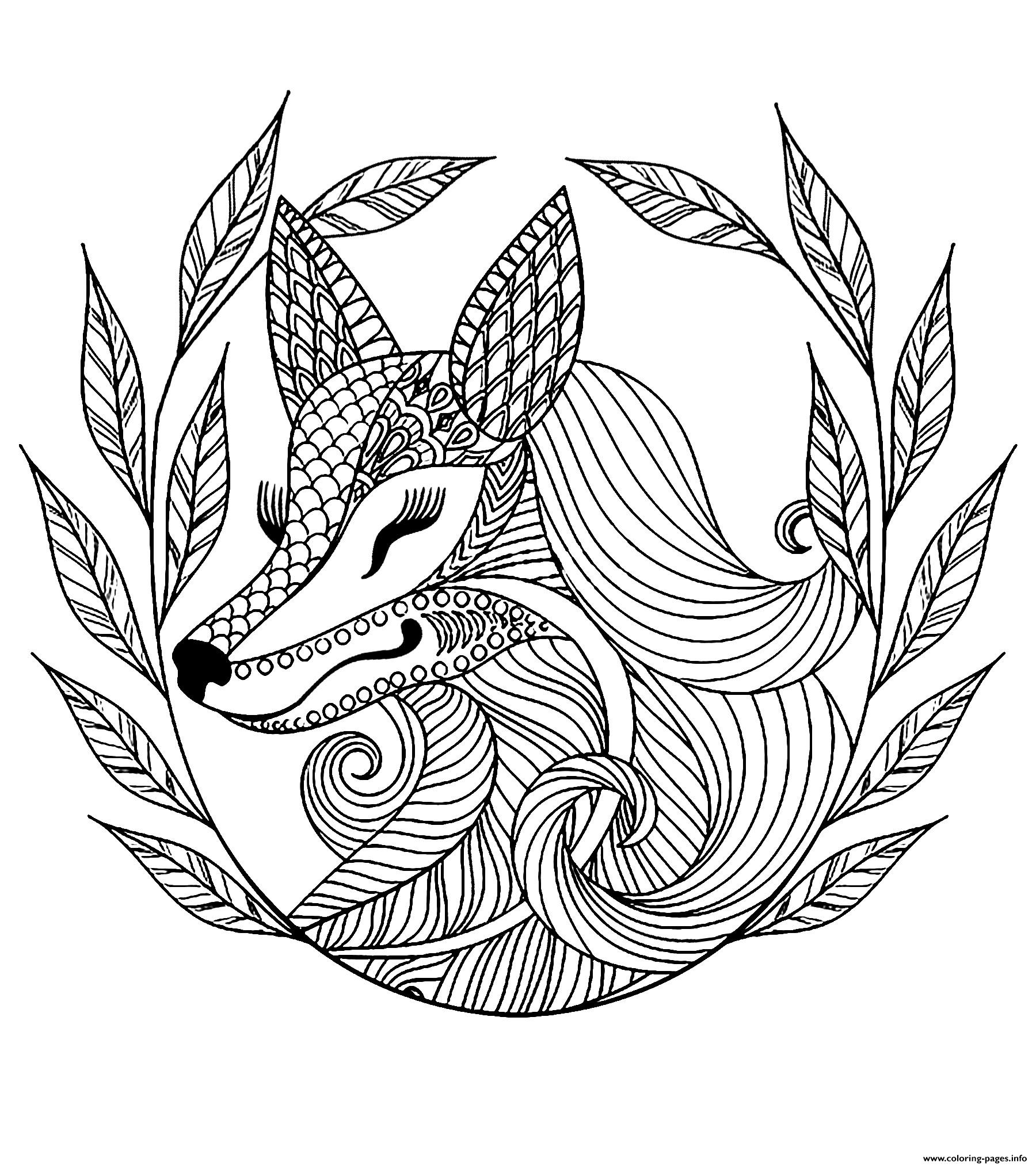 Advanced Fox And Leaves Coloring Pages Printable