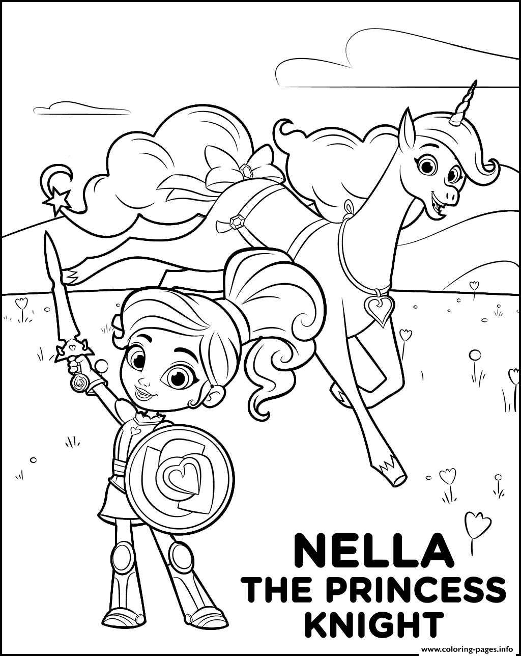Nella The Princess Knight Coloring Pages Printable