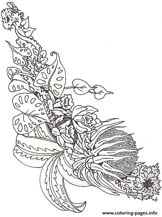 Umbrella Mural Coloring Horizontal Bromeliad By Jan Brett