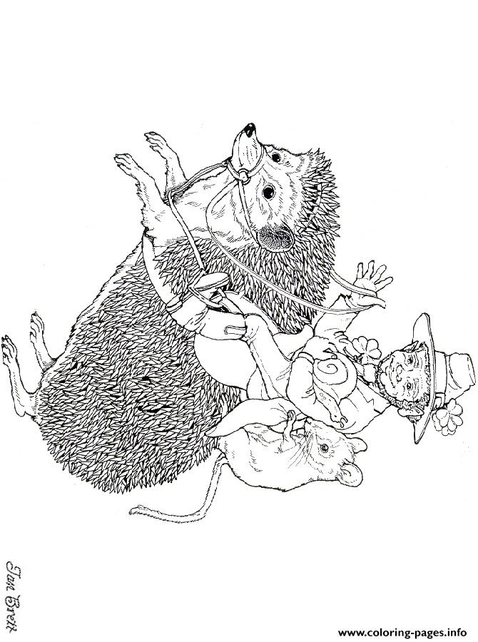 Hedgies March Coloring Art By Jan Brett Coloring Pages