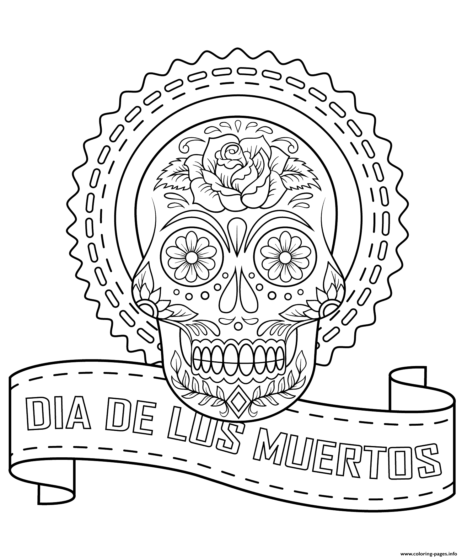Dia De Los Muertos Calavera Coloring Pages Printable