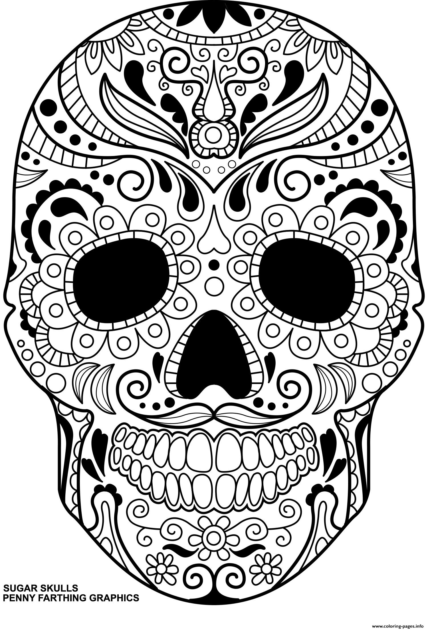 Sugar Skulls Day Of The Dead Calavera Coloring Pages Printable