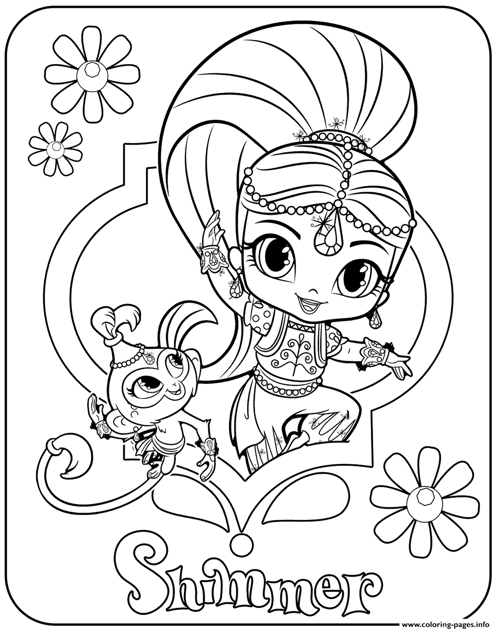 Shimmer And Shine Shimmer Coloring Pages Printable