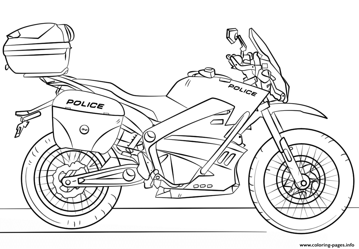Police Moto Motorcycle Coloring Pages Printable