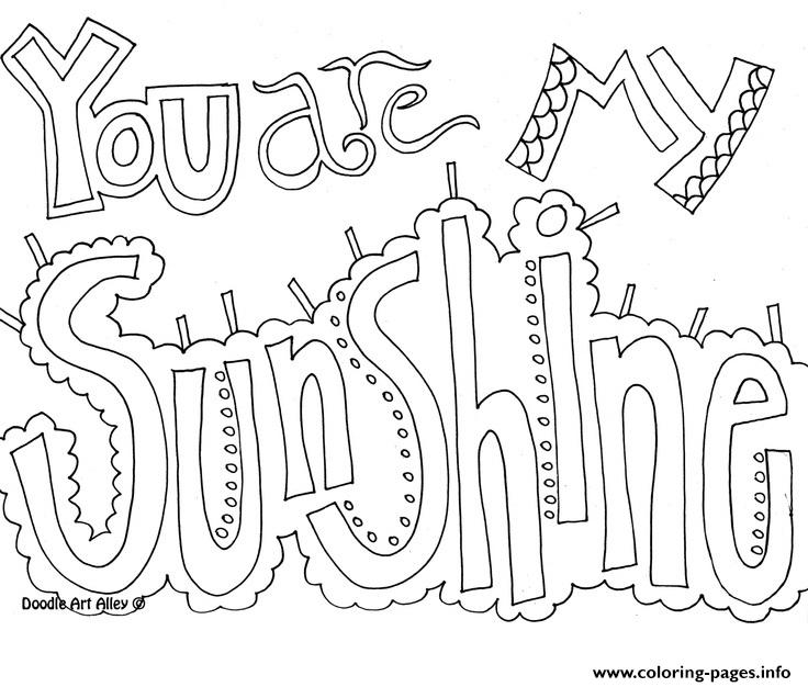You Are My Sunshine Word Coloring Pages Printable
