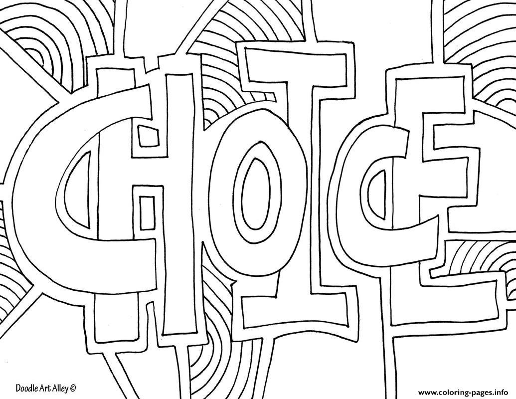 Choice Word Doodle Coloring Pages Printable
