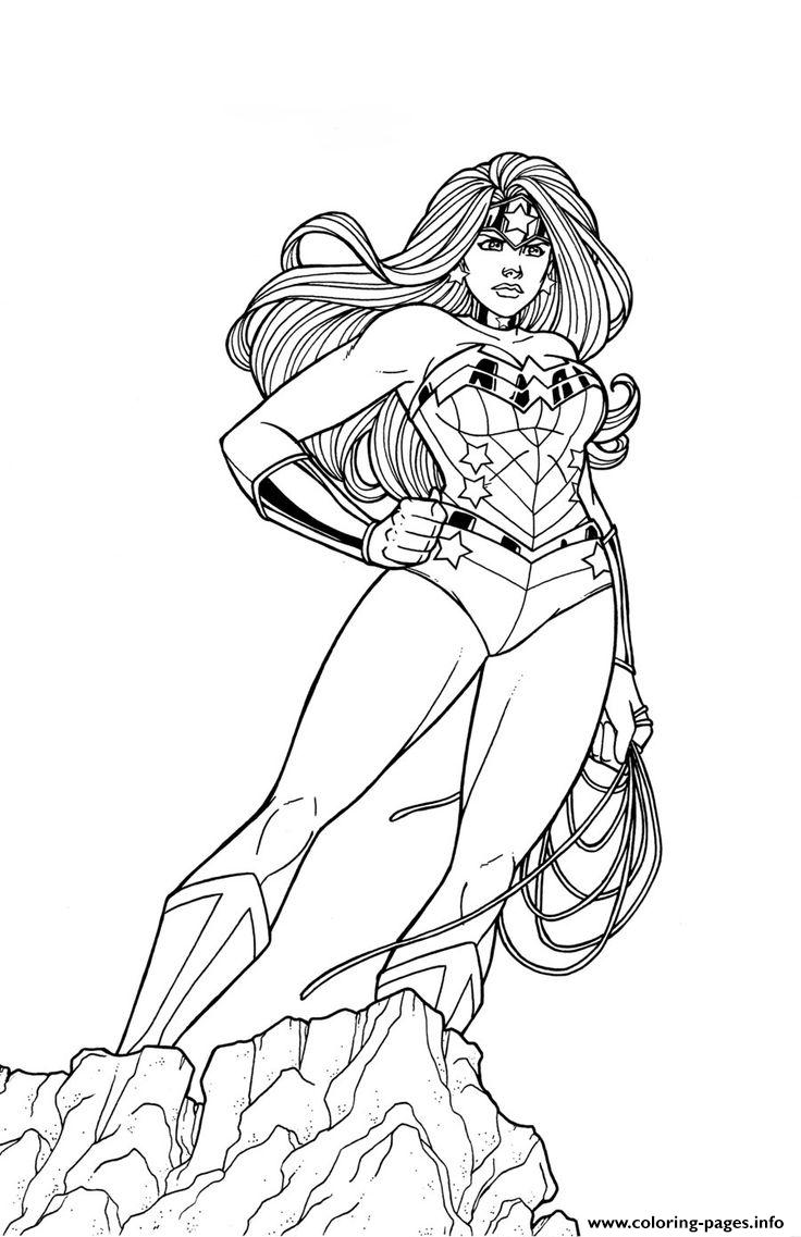 Wonder Woman At The Top For Adult Coloring Pages Printable
