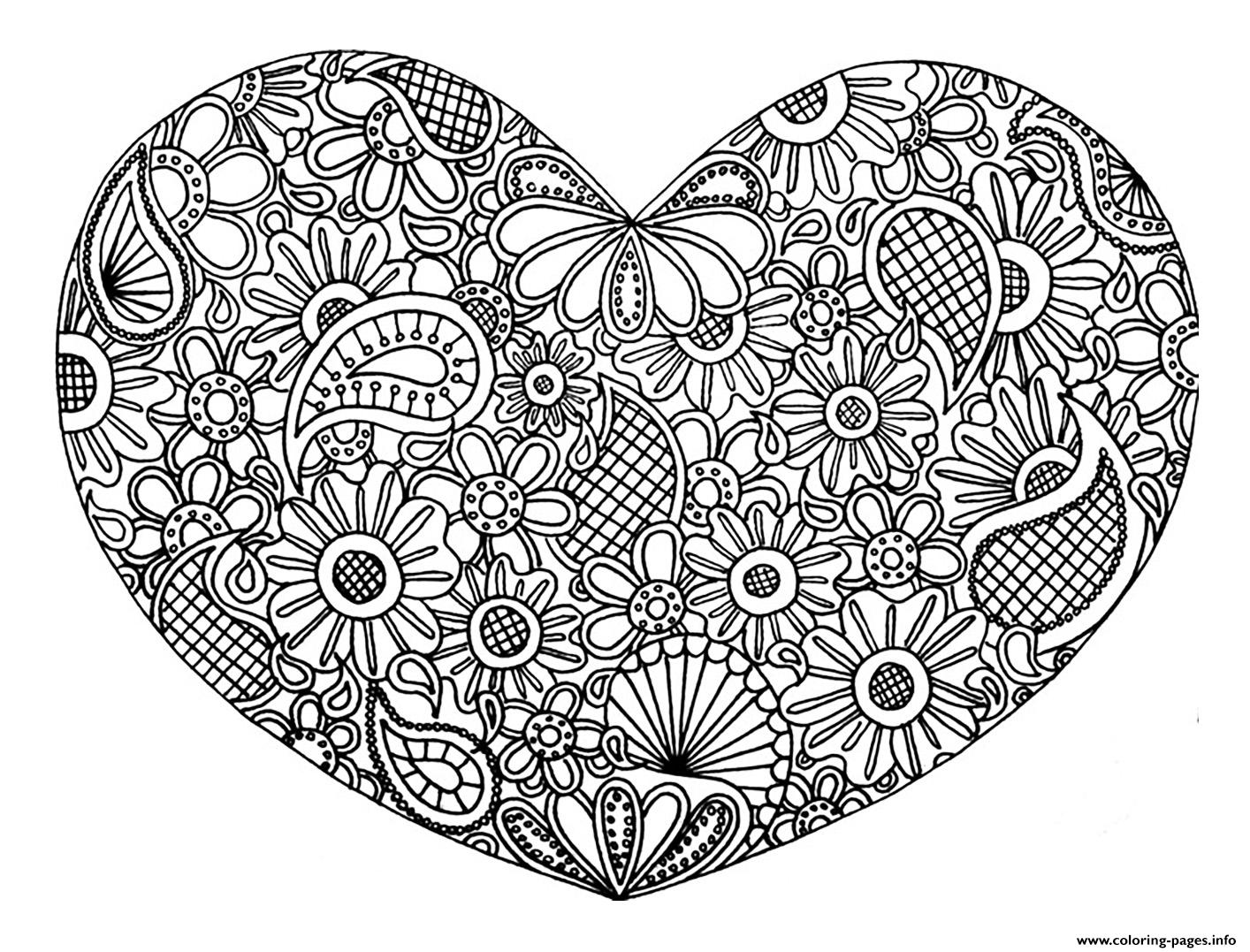 Adult Heart Mandala Fleurs Zen 2017 Coloring Pages Printable