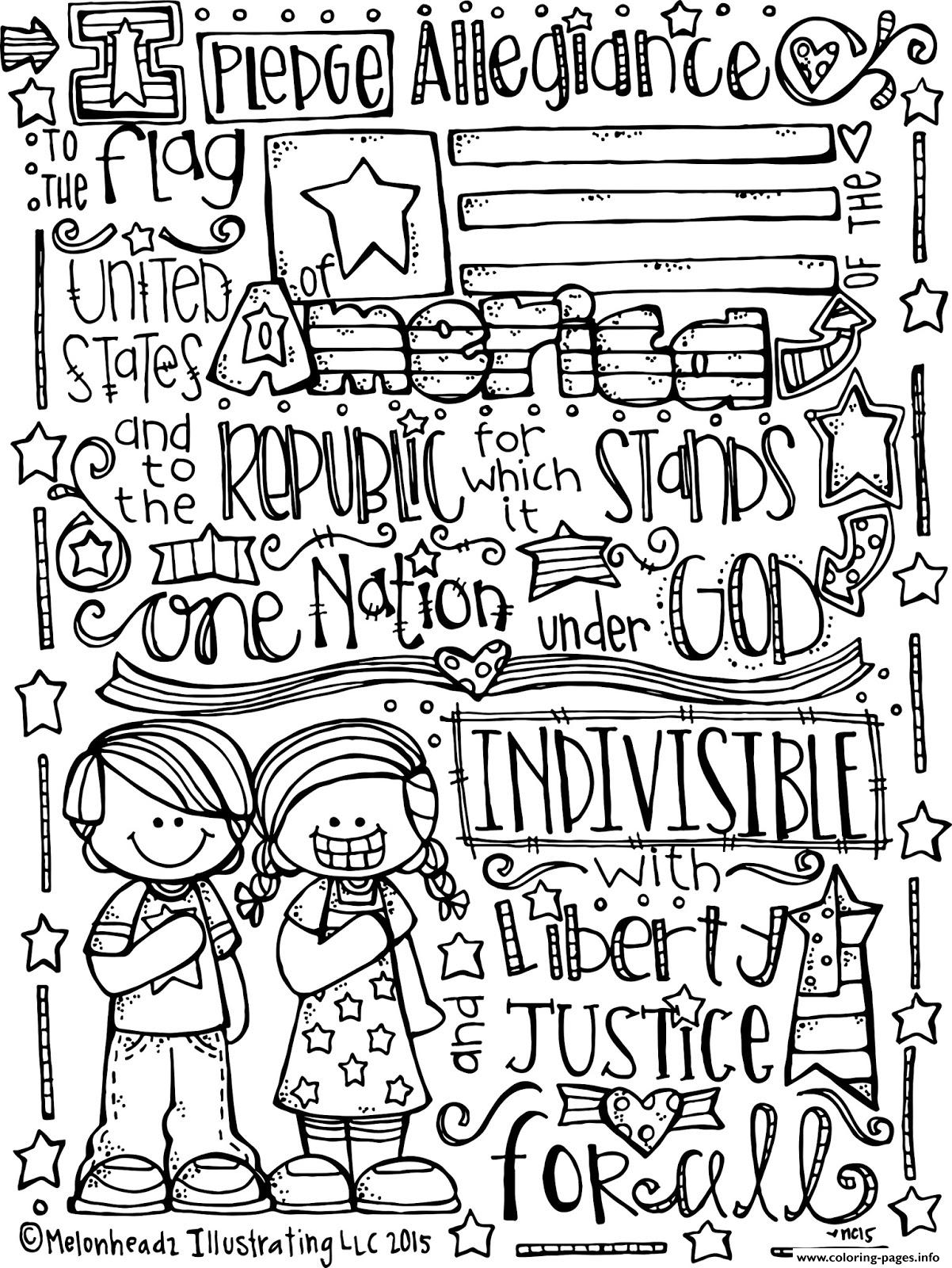 Pledge Of Allegiance Melonheadz Illustrating Llc Bw