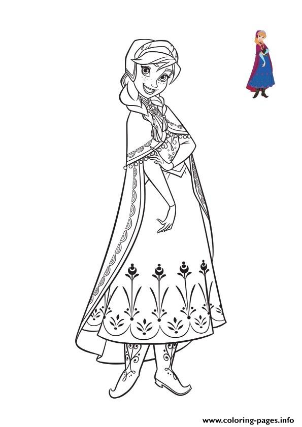Beautiful Anna Cute Smile Frozen 2 Coloring Pages Printable