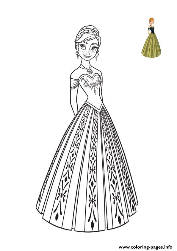 Princess Anna Dress Top Model Frozen 2 Coloring Pages