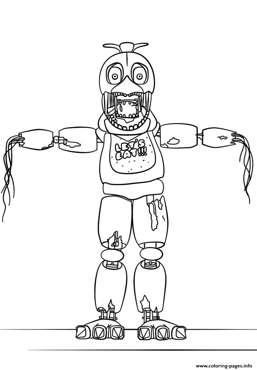 Fnaf Withered Chica Lets Eat Coloring Pages Printable