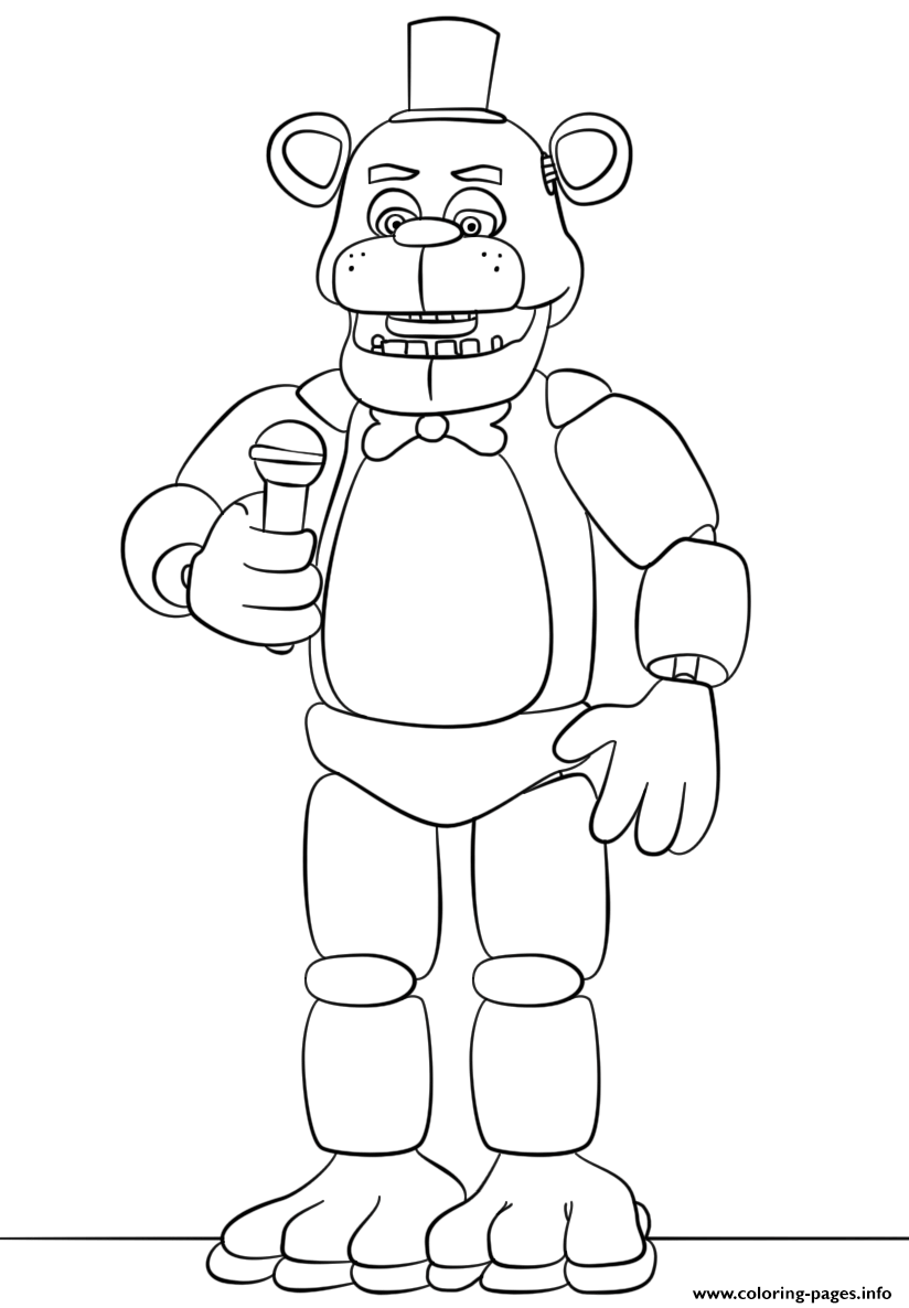 freddy fnaf try to sing coloring pages printable
