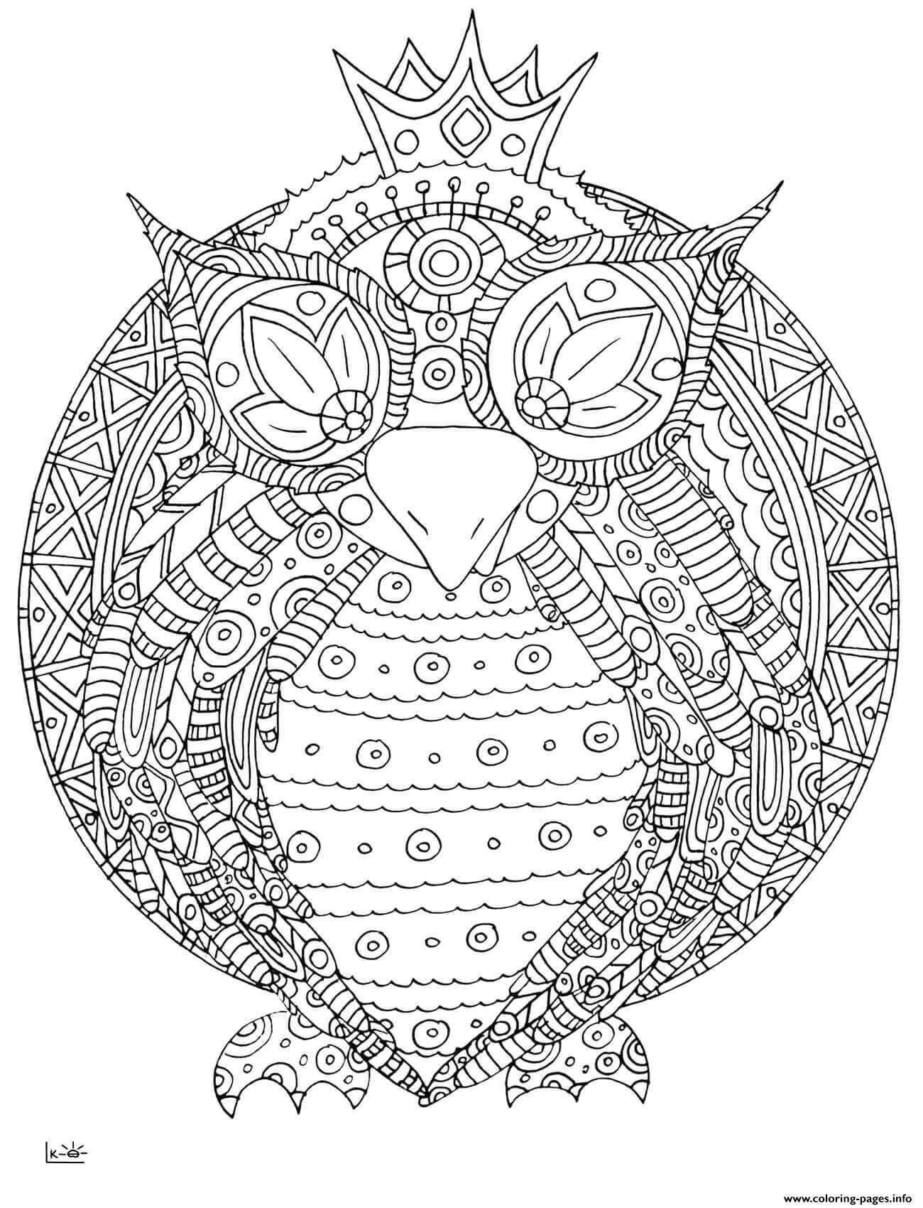 Owl With Tribal Pattern Adults Coloring Pages Printable