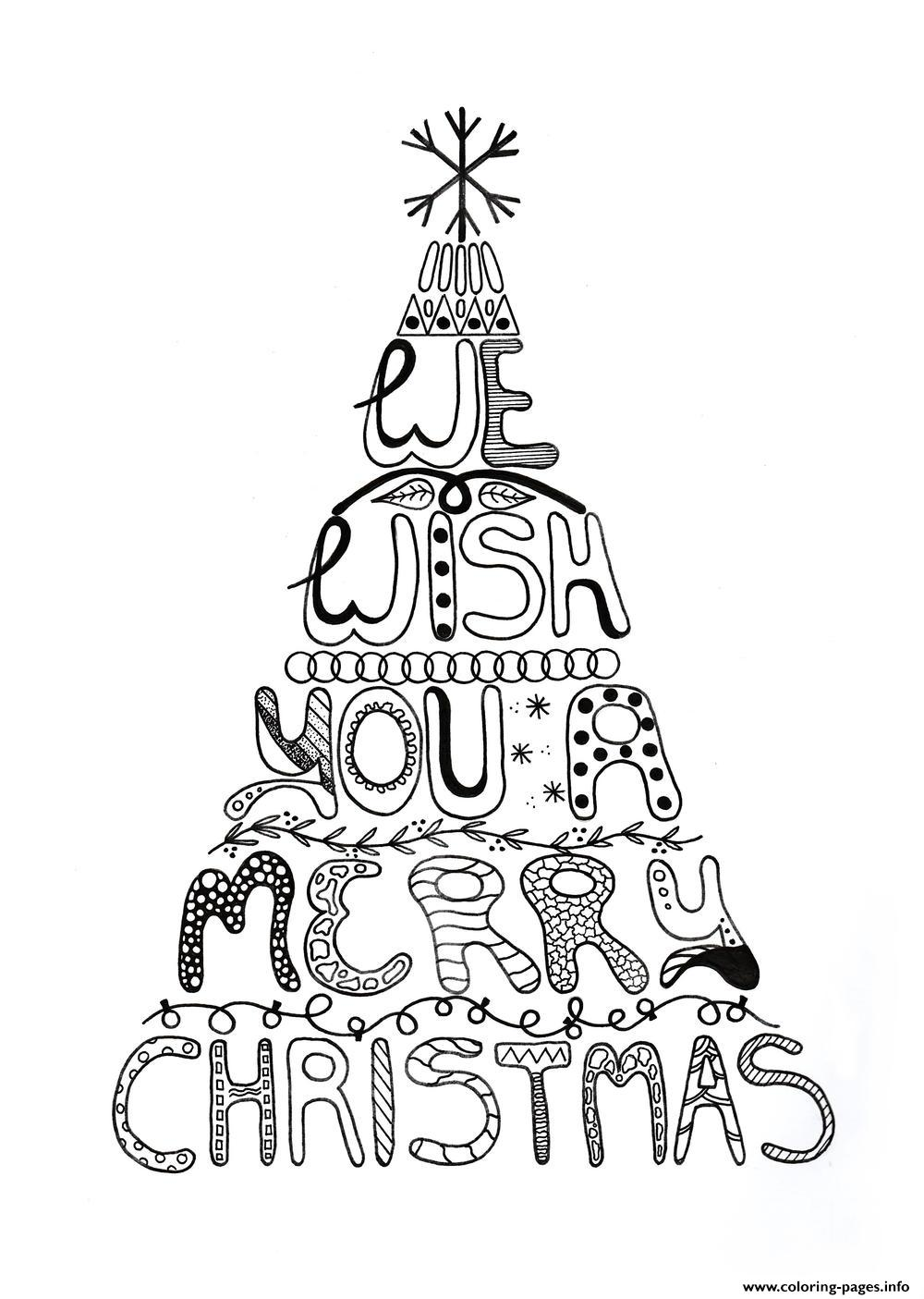 Merry Christmas Adult Tree Coloring Pages Printable | christmas tree coloring pages for adults