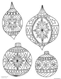 Adult Christmas Holiday Ornaments Coloring Pages Printable