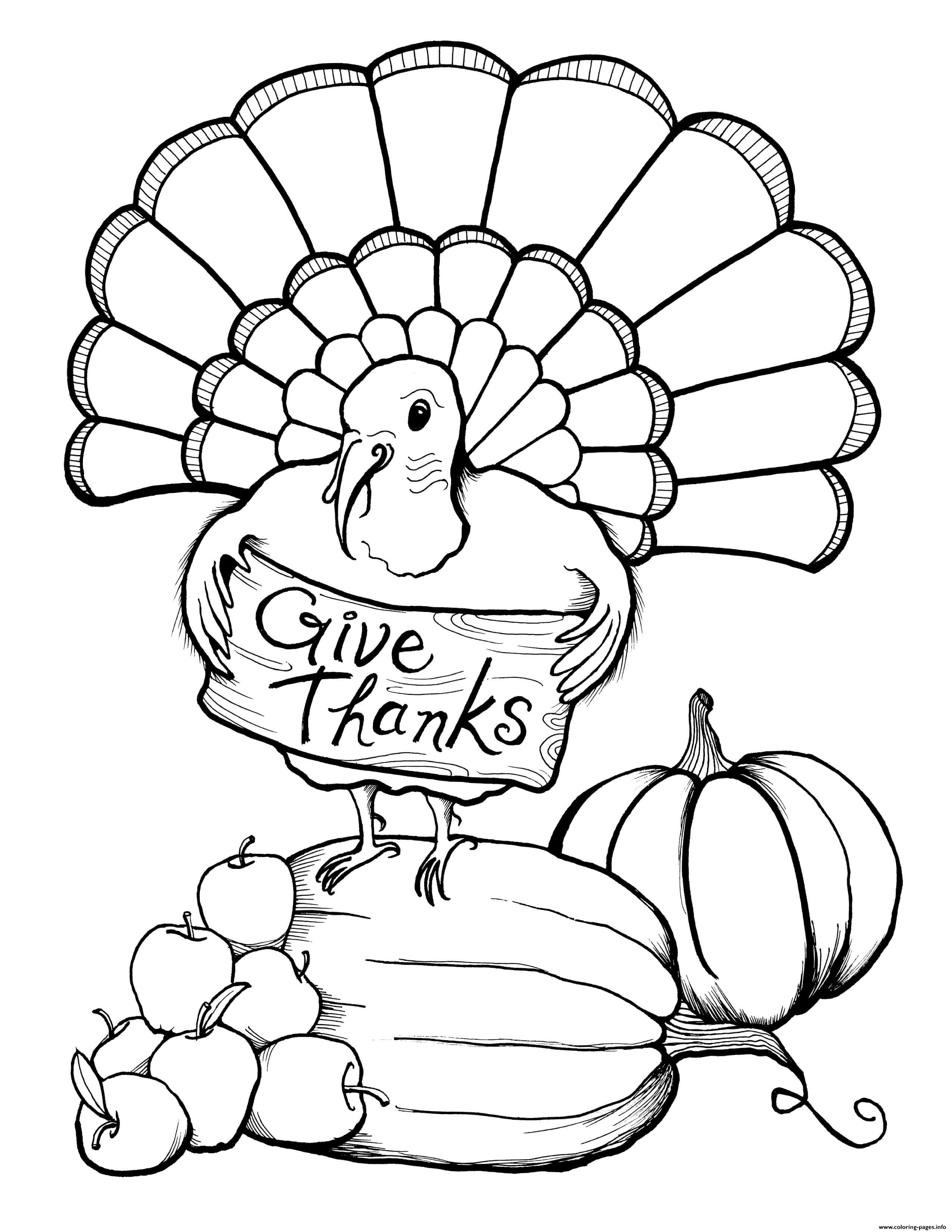 Adult Thanksgiving Turkey Give Thanks Coloring Pages Printable