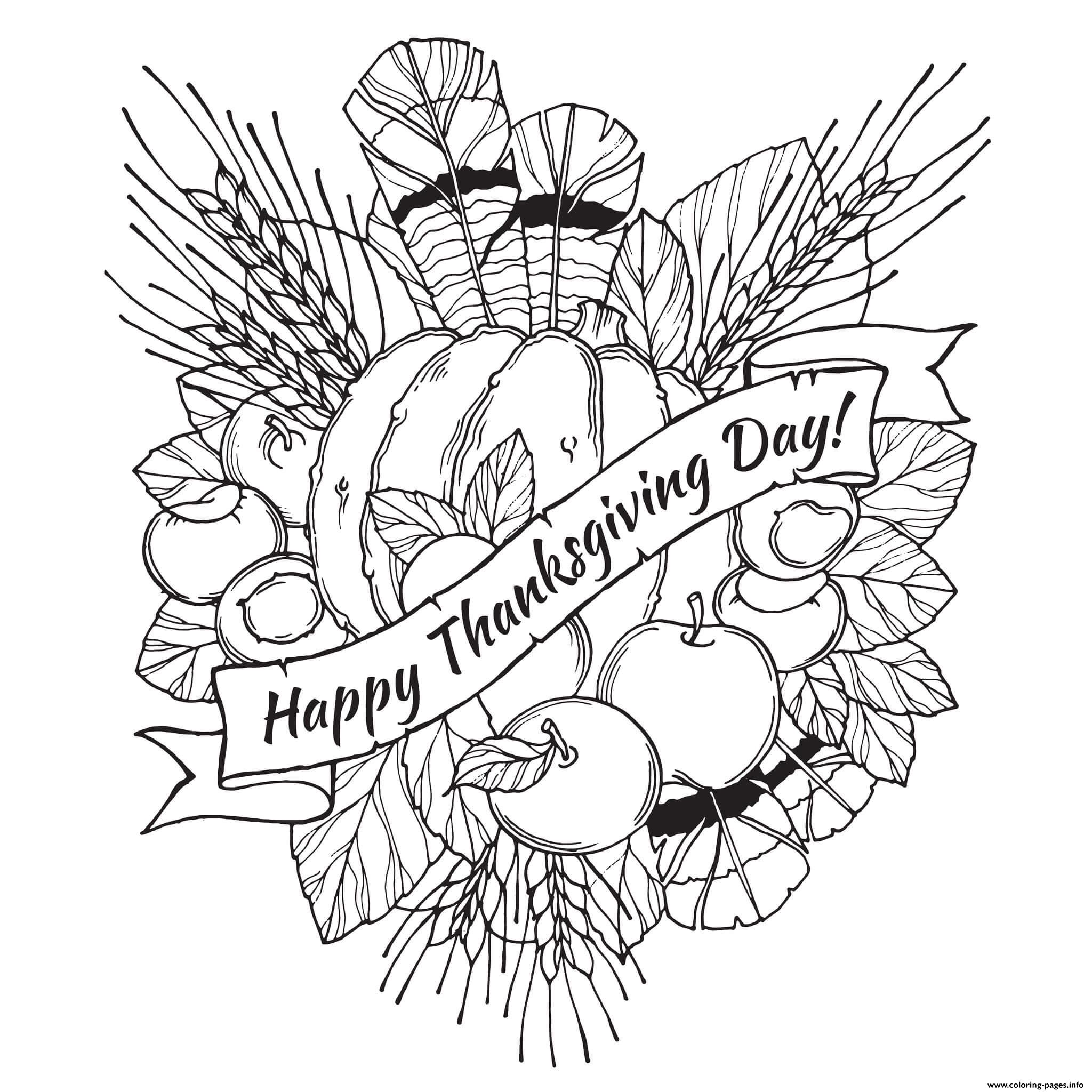Adult Happy Thanksgiving Day Coloring Pages Printable