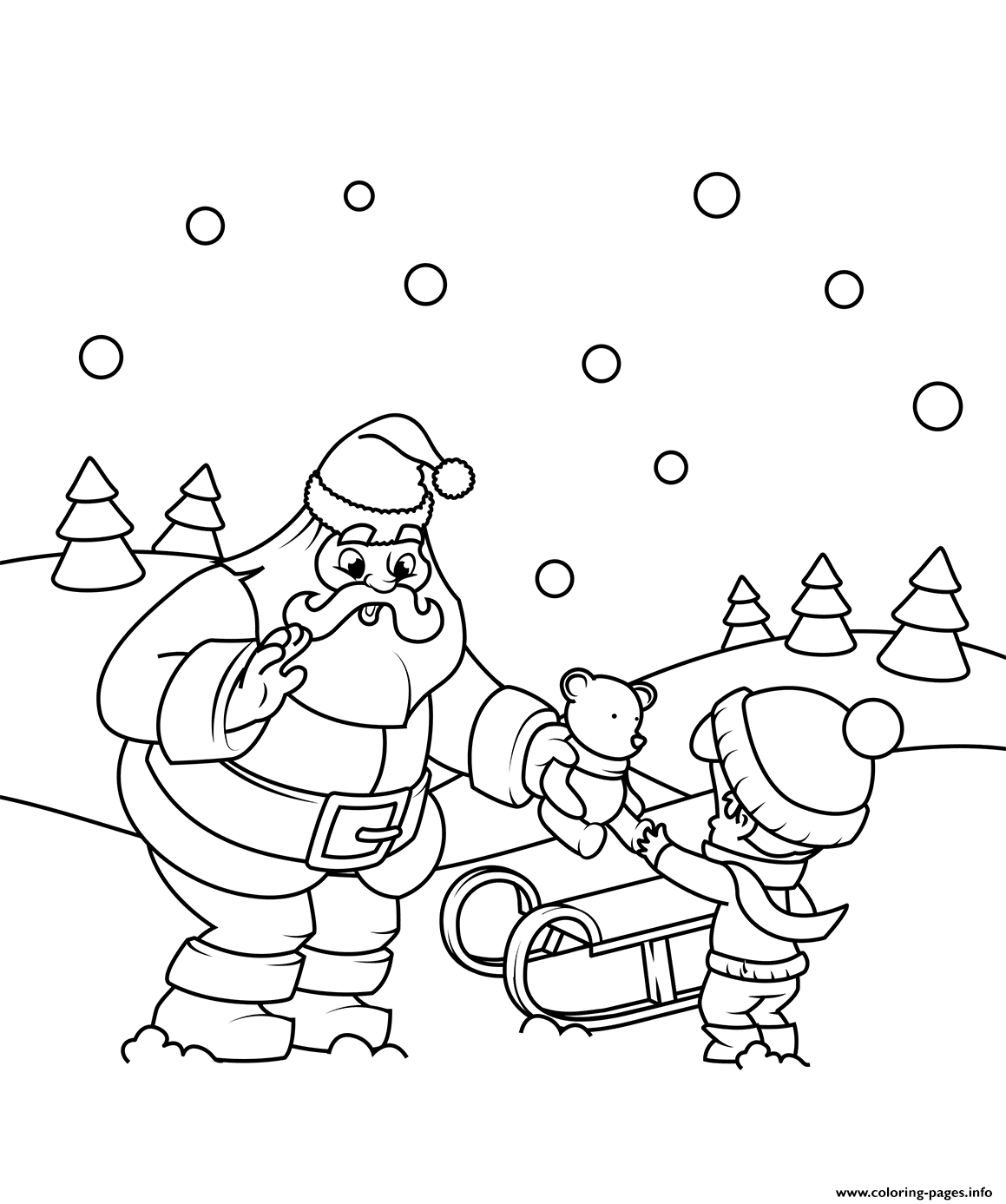 Santa Gives A T To A Boy Christmas Coloring Pages Printable