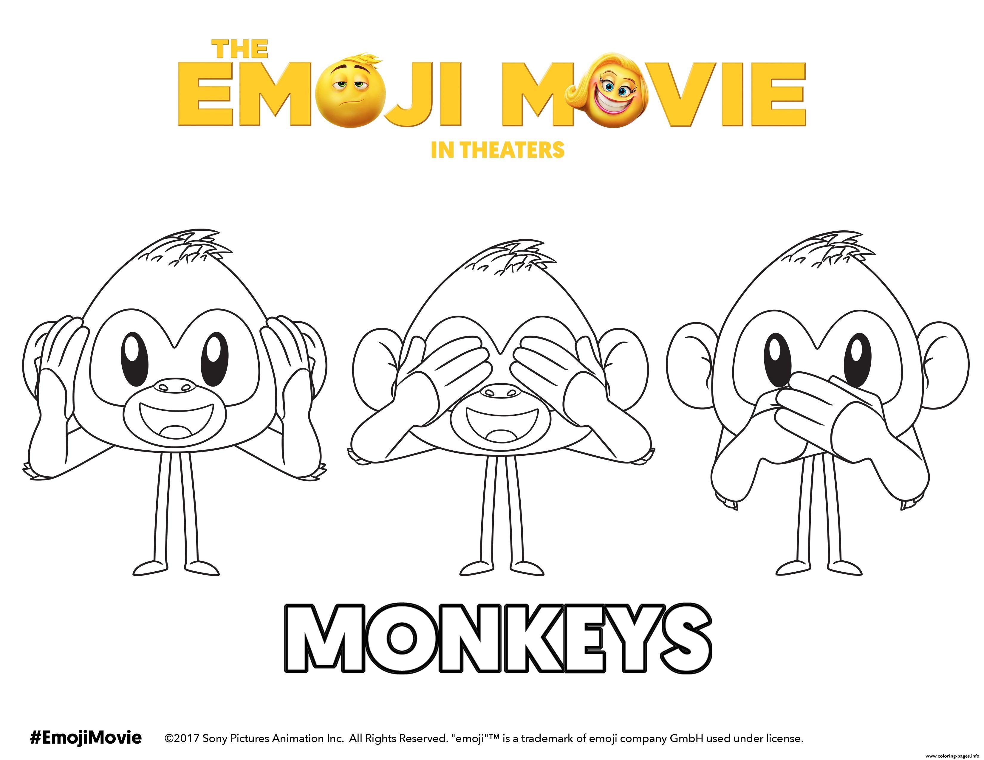 Monkeys Emoji Movie Coloring Pages Printable