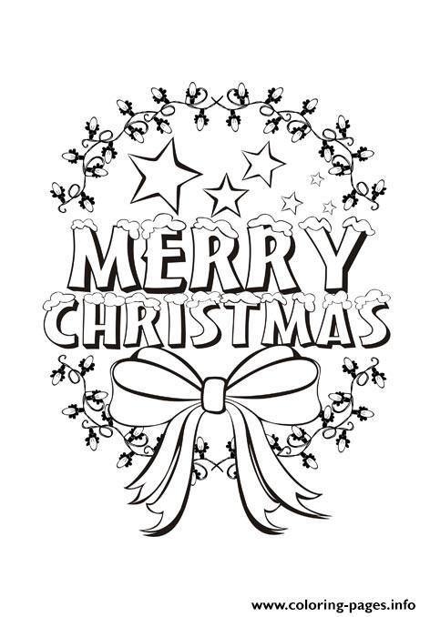 Merry Christmas Message Coloring Pages Printable