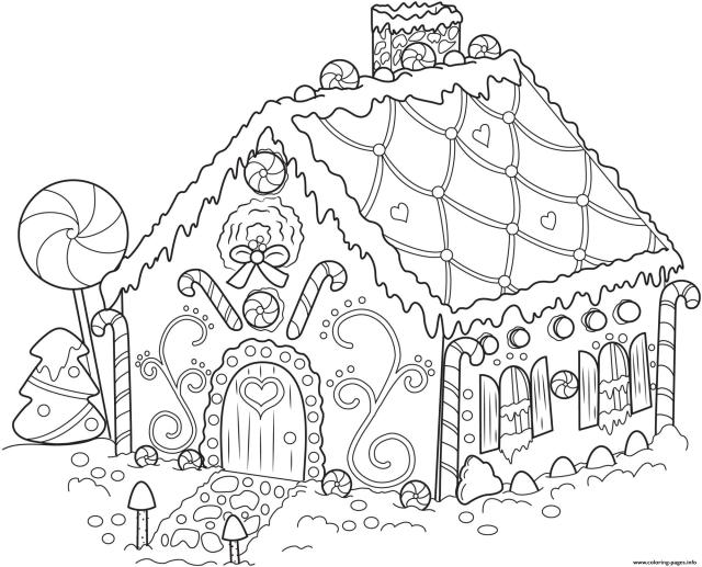 Gingerbread House Christmas Coloring Pages Printable