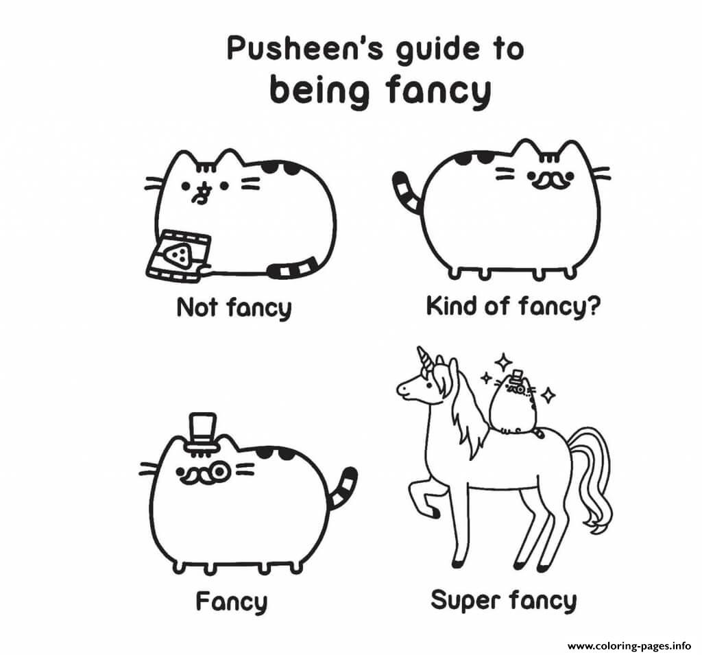 Pusheen Guide Fancy Kind Of Fancy Super Coloring Pages