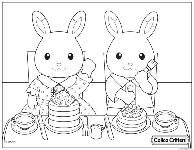 Calico Critters Eating Delicious Pancake Coloring Pages Printable