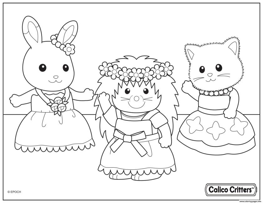 calico critters dance party time coloring pages printable