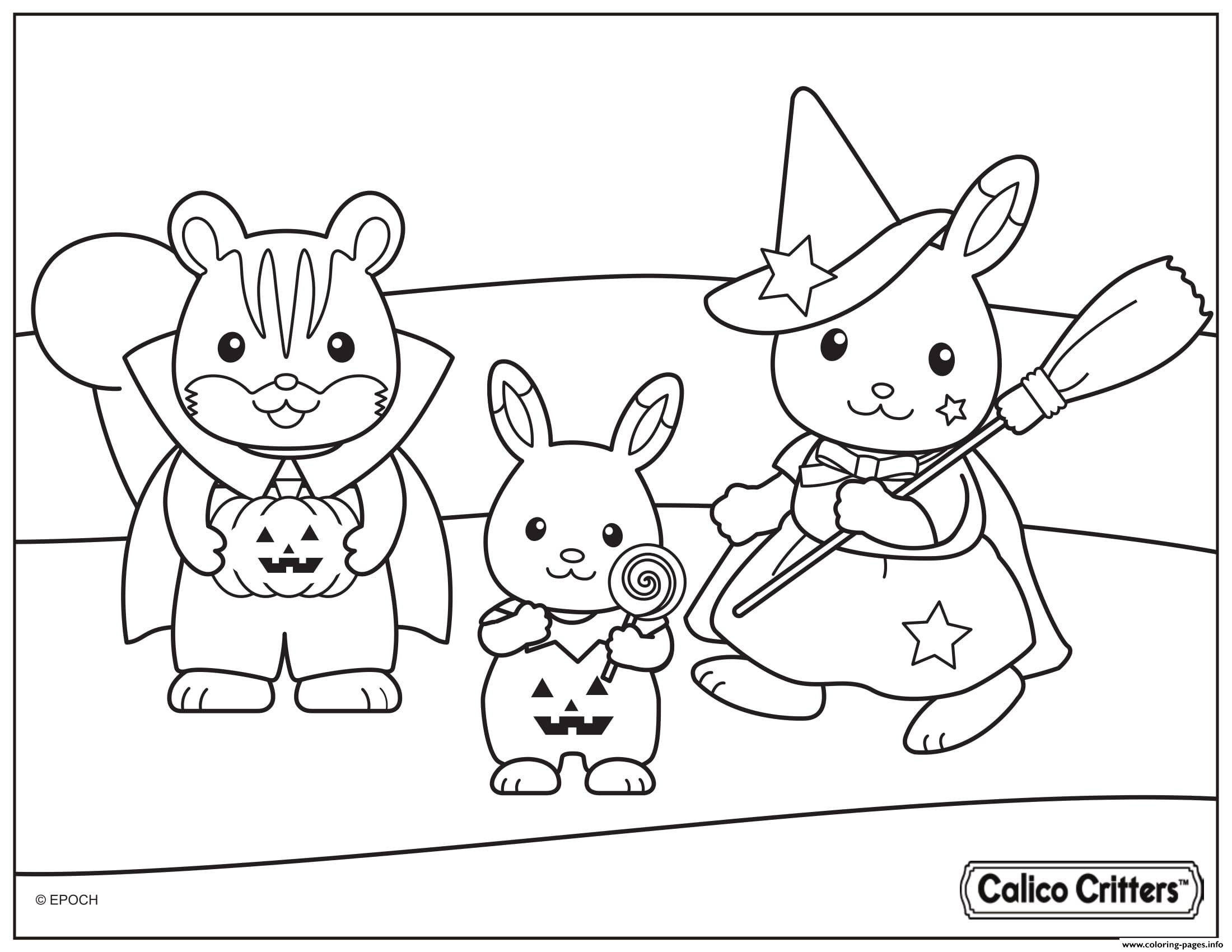 Calico Critters Halloween Costumes Coloring Pages Printable