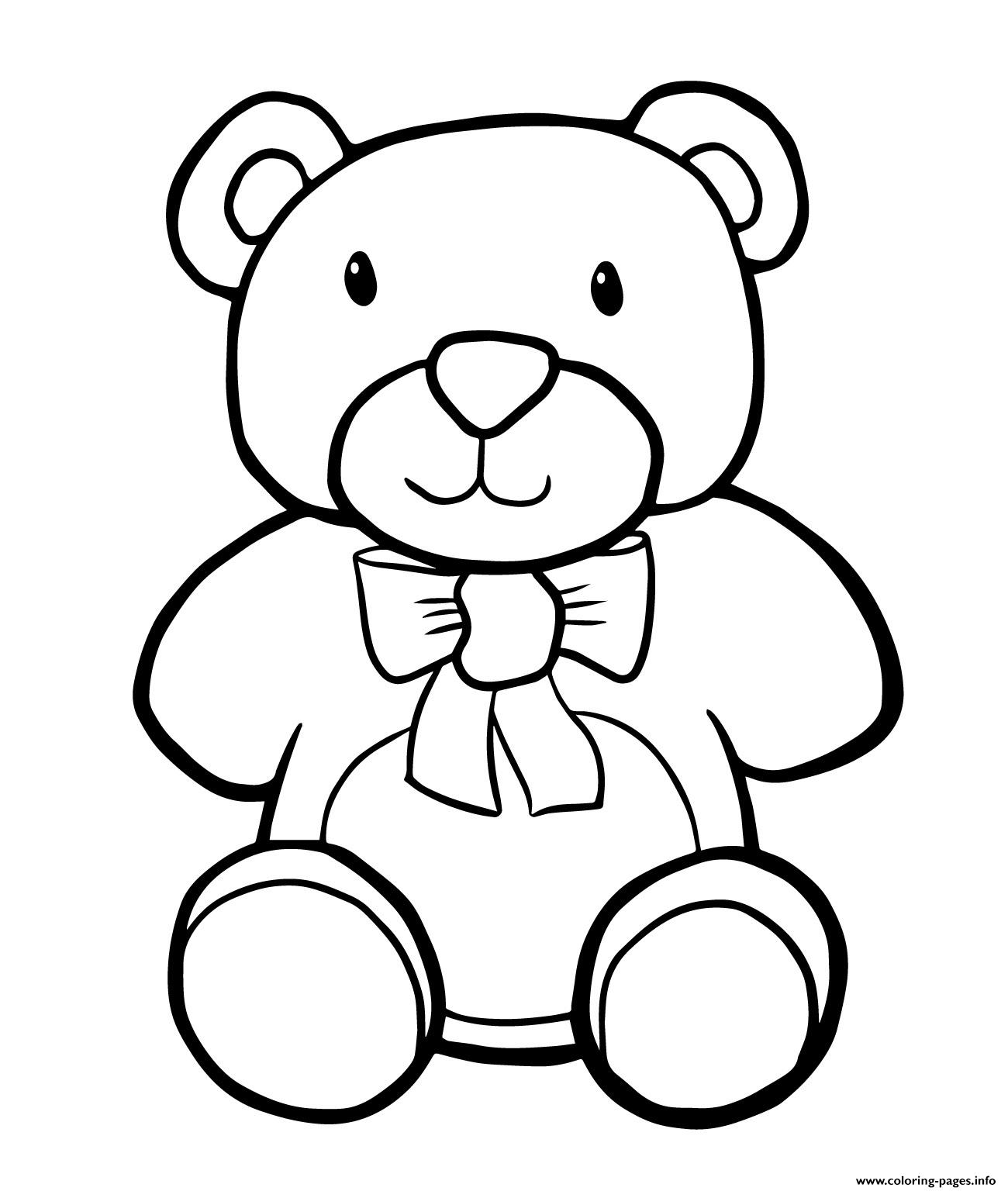 Teddy Bear Simple Kids Coloring Pages Printable | printable coloring pages easy