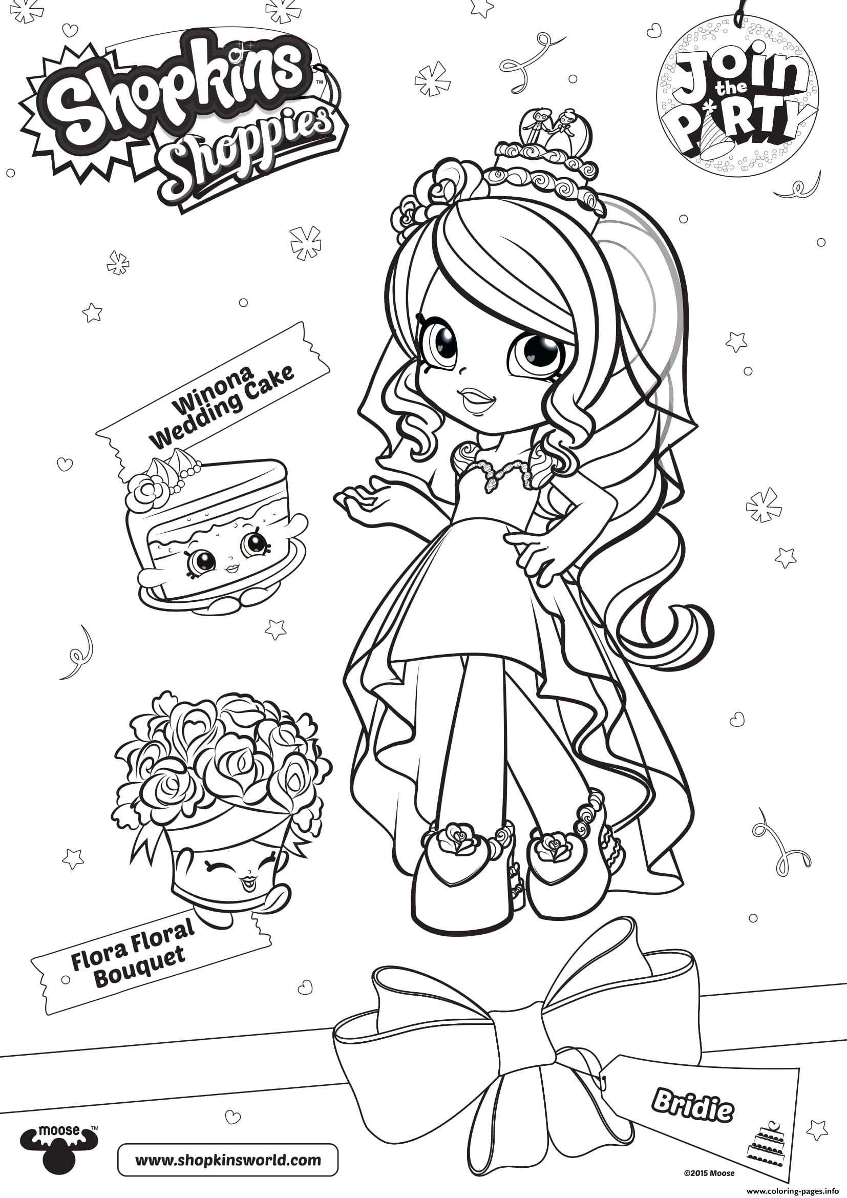 Shopkins Shoppies Join The Party Winona Wedding Cake Flora Floral Bouquet Coloring Pages Printable